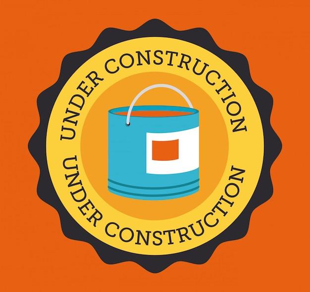 Bauentwurf über orange hintergrund