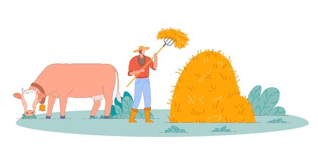 Bauer macht bauernhofheu. person zeichentrickfigur, die heuhaufen mit heugabel und kuh auf feld macht. bauernmann, der bauernhofheuernte macht. ländliche landwirtschaft, ländliches ackerland