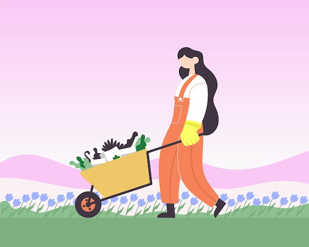 Bauer mit einem wagen voller pflanzen. flache karikaturillustration des farbvektors.