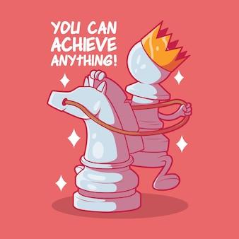 Bauer mit einer krone, die eine pferdevektorillustration reitet schachinspiration motivationsdesign