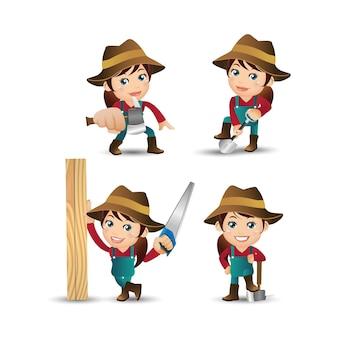 Bauer mit verschiedenen posen