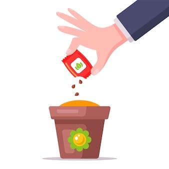 Bauer pflanzt samen in einen topf. sämlinge für die gartenarbeit. heimische pflanze. flache illustration.