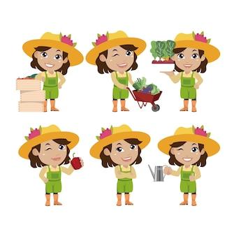 Bauer und gärtner mit verschiedenen posen