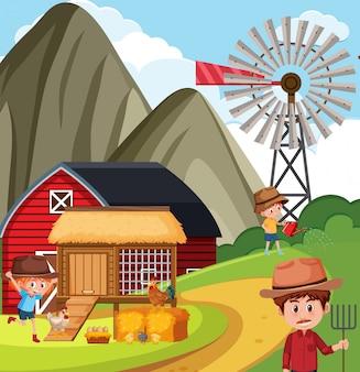 Bauer und kinder arbeiten auf dem bauernhof