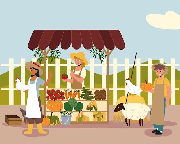 Bauern, die lokale bio-lebensmittel verkaufen