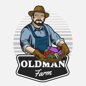 Bauern kerl, der gemüsekiste hält