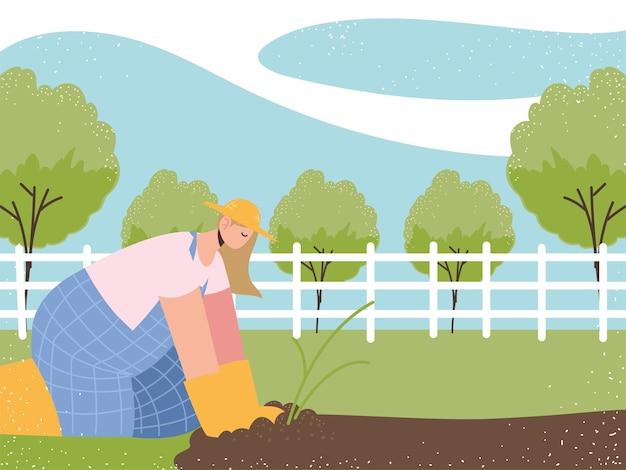 Bauern- und landwirtschaftsbäuerin pflanzt arbeit ackerlandfeldlandschaftsillustration