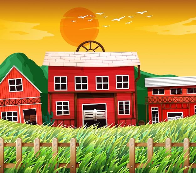 Bauernhäuser mit scheunenszene