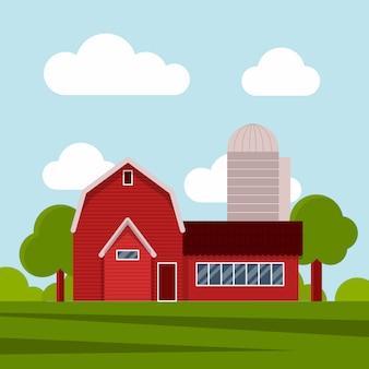 Bauernhaus auf einer grünen wiese