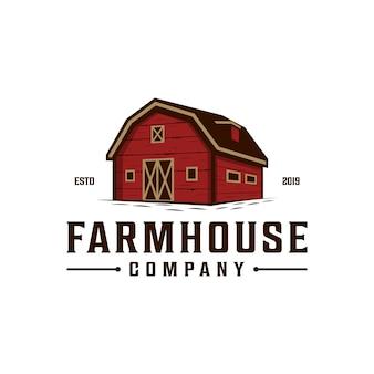 Bauernhaus, lager- / scheunenweinleselogodesign. gezeichnetes logo der landschaft hand