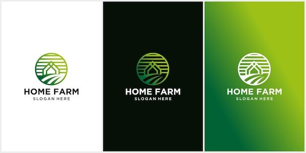 Bauernhaus-logo-design-vorlage, frischer rahmen, grüne blattfarm, ökologie, natur-logo-design-vektor-symbol