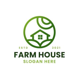 Bauernhaus minimalismus kreis monoline logo vorlage