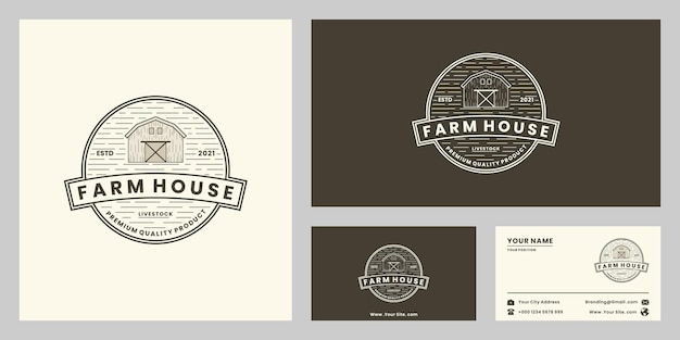 Bauernhaus, ranch, landwirtschaftslogo-design-abzeichen retro-stil