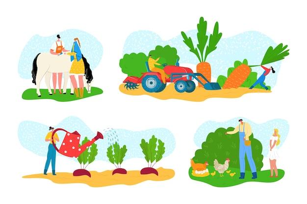 Bauernhof eingestellt mit tier-, karikaturlandwirtschaft