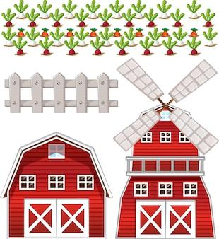 Bauernhof-elementsatz isoliert auf weißem hintergrund