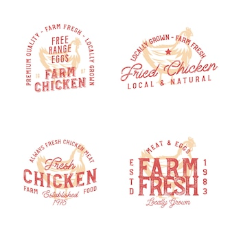 Bauernhof frische hühnermarken. abzeichen im weinlesestil auf farmthema mit monochromer hühnerskizze