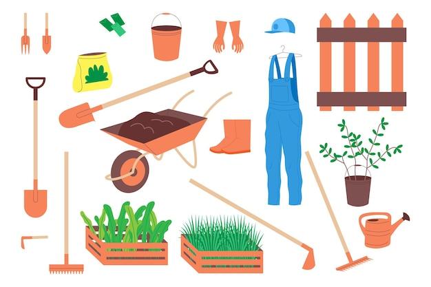 Bauernhof, garten, landwirtschaftliche werkzeuge eingestellt. werkzeuge zum graben des bodens, zum anlegen von beeten, zum pflanzen von gemüse- und obstsetzlingen und zum gießen von pflanzen. flache cartoon-vektor-illustration
