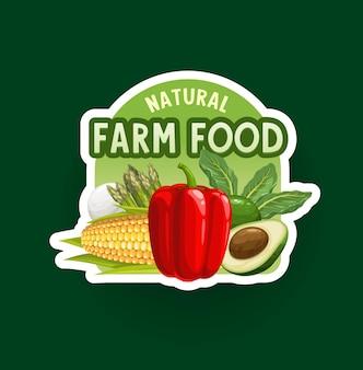 Bauernhof-gemüse-abzeichen oder symbol. bio-lebensmittel