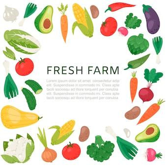 Bauernhof gemüse frame präsentationsvorlage
