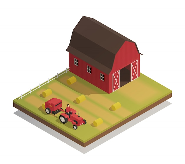 Bauernhof hay harvesting isometric composition