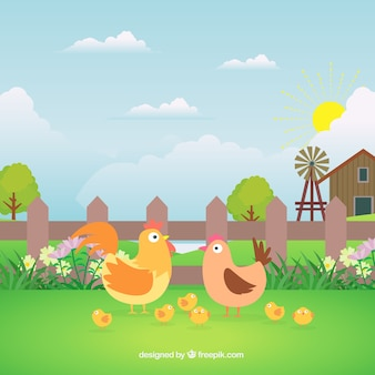 Bauernhof hintergrund mit schönen hühnern