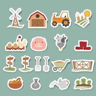 Bauernhof-ikonen eingestellt