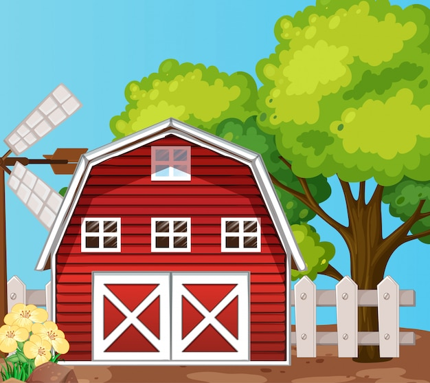 Bauernhof in der naturszene mit scheune und großem baum