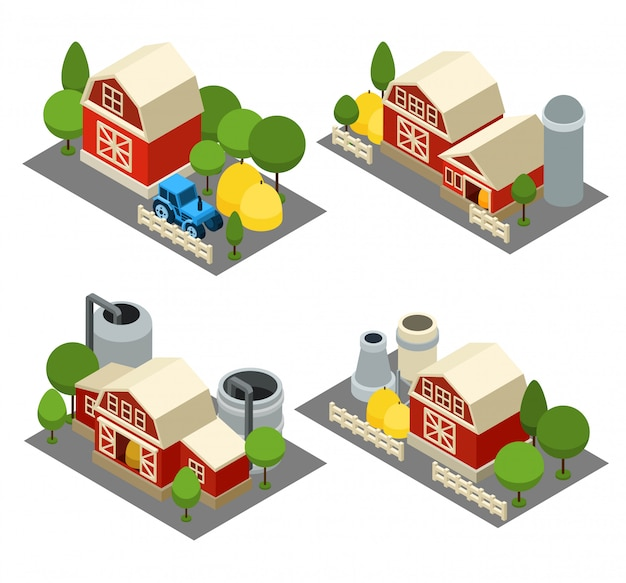 Bauernhof isometrische icons set
