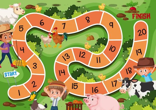 Bauernhof-labyrinth-spielvorlage