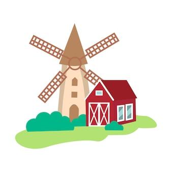 Bauernhof ländliches gebäude oder scheune und mühle symbol flachbild vector illustration isoliert