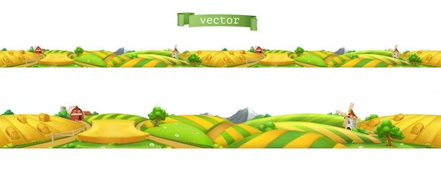 Bauernhof. landschaft, nahtloses panorama, vektorillustration