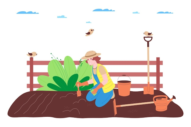 Bauernhof, landwirtschaft und landwirtschaft. ein bauer arbeitet auf einem bauernhof, obst- oder gemüsegarten: er gräbt den boden, macht beete, pflanzt setzlinge von gemüse und obst und gießt die pflanzen.