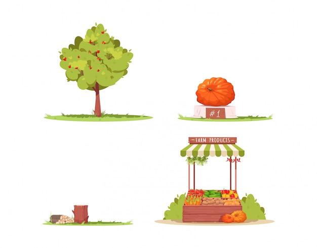 Bauernhof lebensstil halb flach rgb farbillustrationssatz. apfelbaum. reifer kürbis als county festival gewinner. baumprotokolle. ranchattribute isolierte karikaturobjektsammlung auf weißem hintergrund
