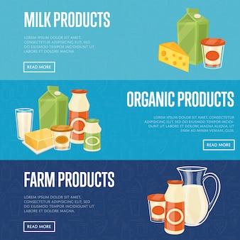 Bauernhof, milch und bio-produkte-vorlagen