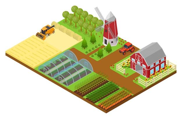 Bauernhof mit gebäude, mühle und traktor in isometrischer ansicht