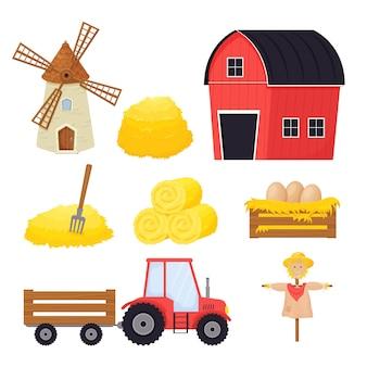 Bauernhof mit heuballen vogelscheuche windmühle traktor im cartoon-stil