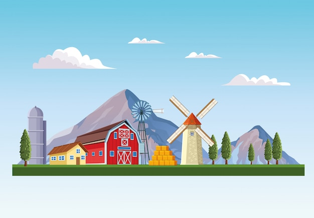 Bauernhof mit scheunenlandschaft