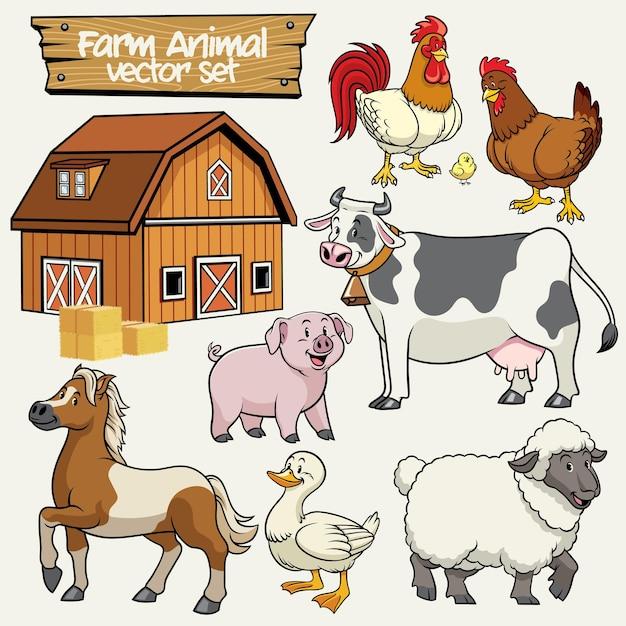 Bauernhof-set cartoon-stil von nutztieren