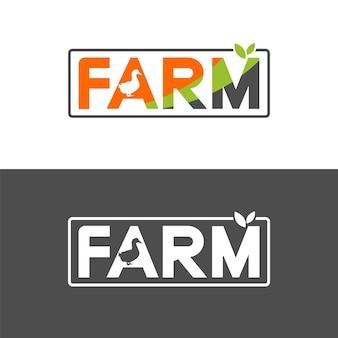Bauernhof-text-logo-design mit enten- und blätterillustration