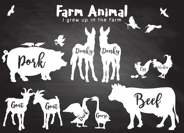 Bauernhof tiere silhouetten isoliert
