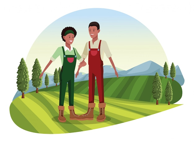Bauernhof, tiere und bauer cartoon