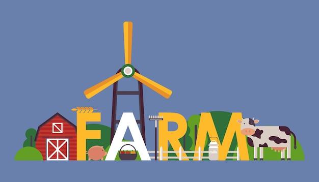Bauernhof typografie poster