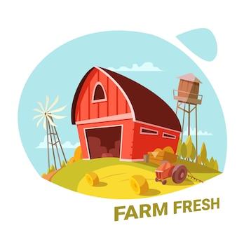 Bauernhof und frische bioprodukte konzept
