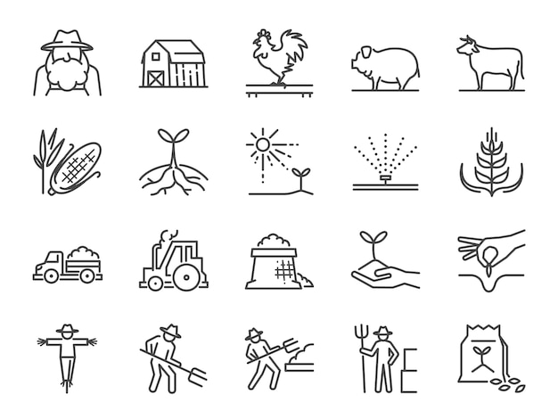 Bauernhof und landwirtschaft linie icon-set.