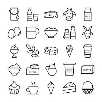 Bauernhof und milchprodukte icons