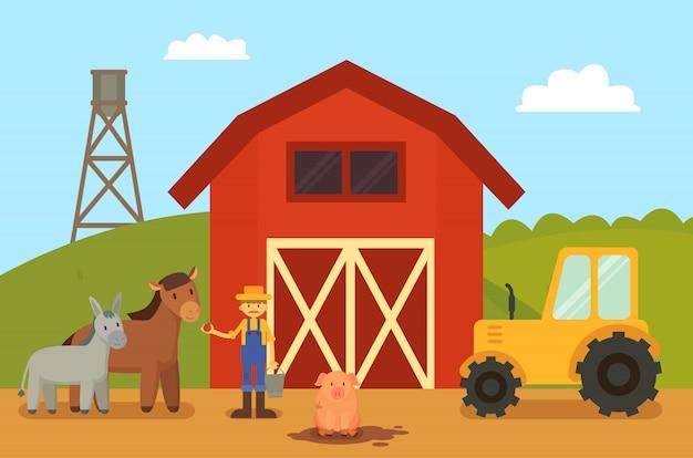 Bauernhof und tiere vieh