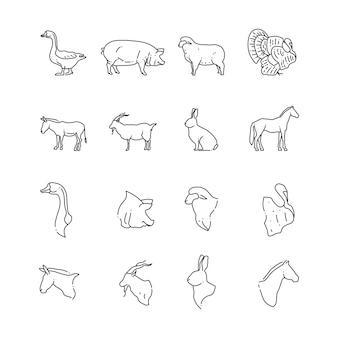 Bauernhof vögel und tier linie symbol