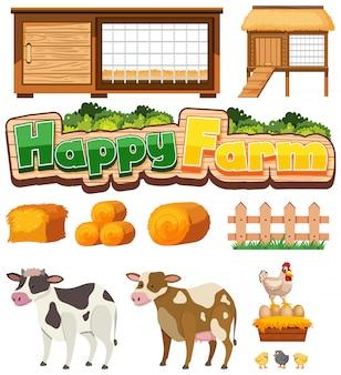 Bauernhofelemente eingestellt mit hühnerstall und nutztieren auf weiß