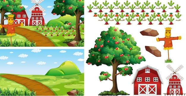 Bauernhofelementsatz isoliert mit bauernhofszene