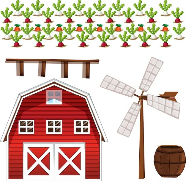 Bauernhofelementsatz lokalisiert auf weiß